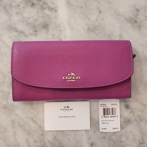 Coach Hyacinth Purple Leather Flower Slim Wallet